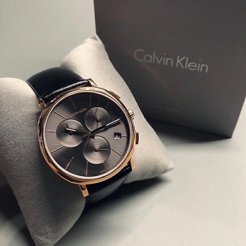 美國百分百【全新真品】Calvin Klein 黑面玫瑰金錶殼 三眼計時 皮質錶帶 手錶 腕錶 石英 瑞士製造 BA62