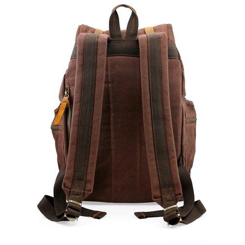 Men's Outdoor Sport Vintage Canvas Military BackBag Shoulder Travel Hiking Camping School Bag Backpack - Coffee 1