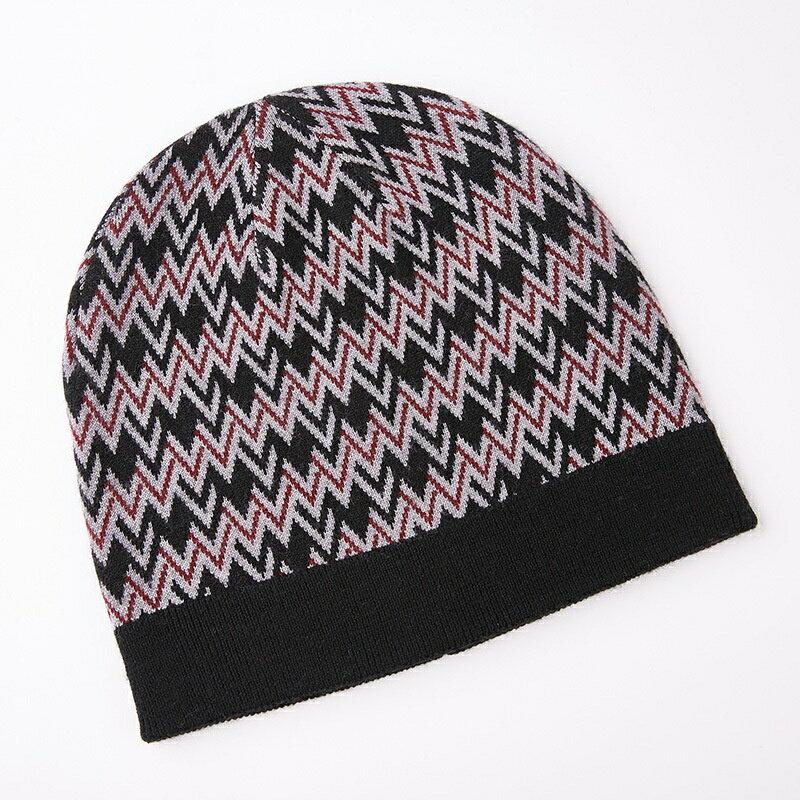 毛帽羊毛針織帽-W紋提花加厚捲邊男帽子3色73wj37【獨家進口】【米蘭精品】 1