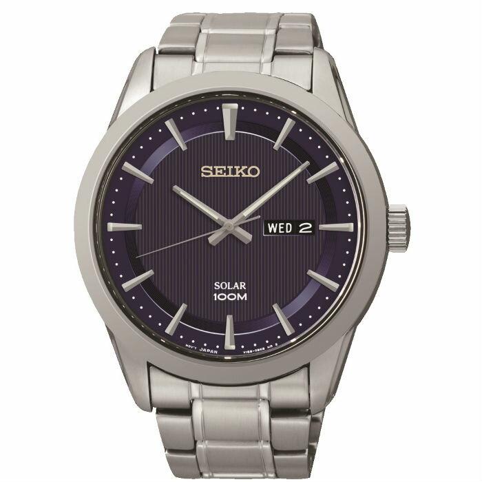 Seiko V158-0AS0B(SNE361P1)大三針太陽能簡約腕錶/藍面43.2mm