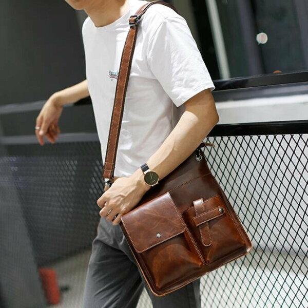 FINDSENSEZ1韓國時尚潮男皮質豎款多口袋設計手提包單肩包側背包電腦包公事包