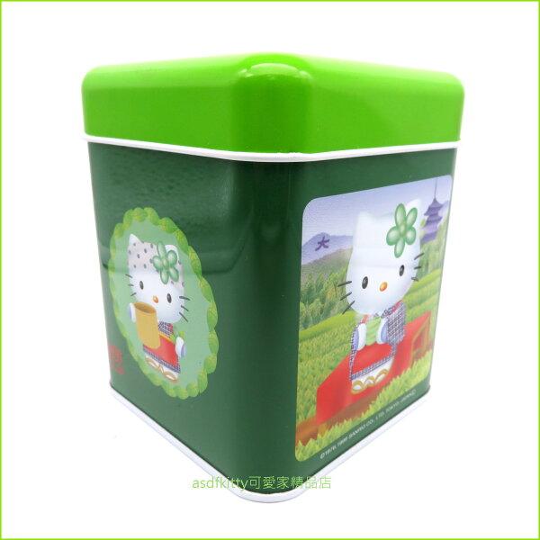 asdfkitty可愛家☆二手商品出清-KITTY綠色方型鐵皮空罐置物罐收納罐-放糖果.餅乾.茶葉...等-日本正版