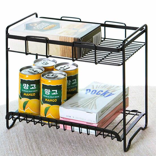 鐵藝雙層置物架  鐵藝噴漆 廚房 調料架 調味品 廚具收納架 置物架 ♚MY COLOR♚【W27】