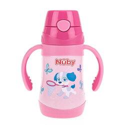 【Nuby】不鏽鋼真空學習杯細吸管 280ml (花漾犬)