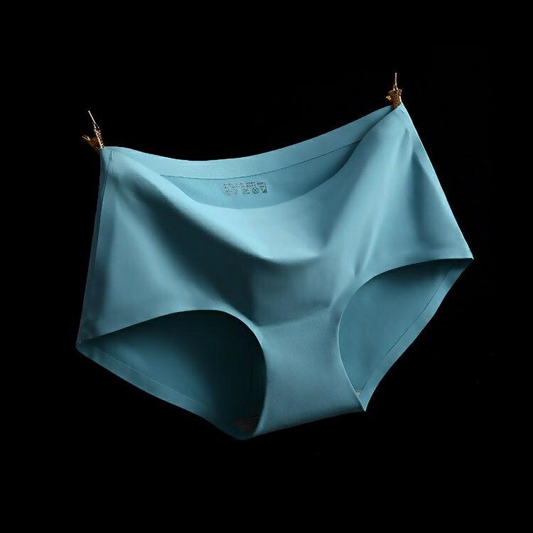 317180#A6藍灰 XL冰絲無痕中腰純色性感女仕內褲 中大尺碼 # 一片式