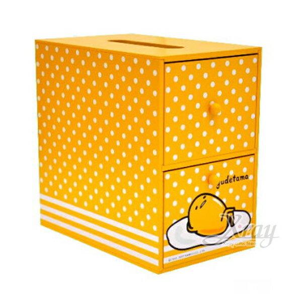 X射線【C990950】蛋黃哥Gudetama兩抽面紙盒,置物櫃收納櫃收納盒抽屜收納盒木製櫃木製收納櫃收納箱桌上收納盒