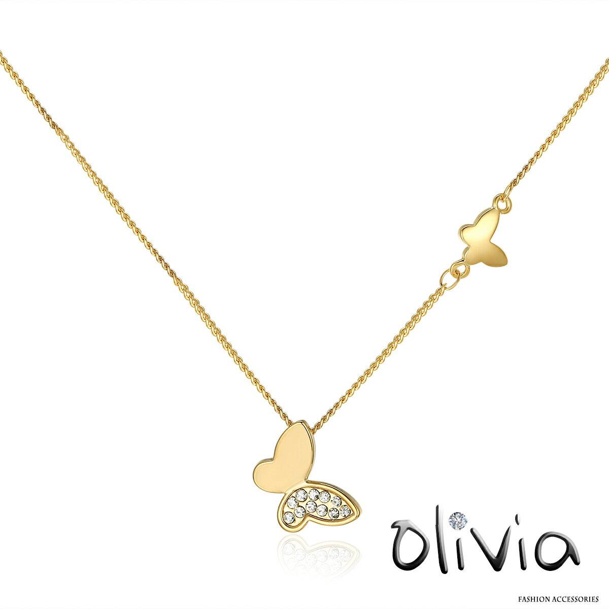 Olivia 鎖骨項鍊 時尚雙蝴蝶水鑽鎖骨項鍊【M00626】