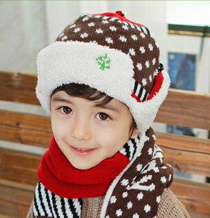 Kocotree◆秋冬時尚點點條紋星星拚色麻花辮兒童毛線護耳飛行帽-咖啡