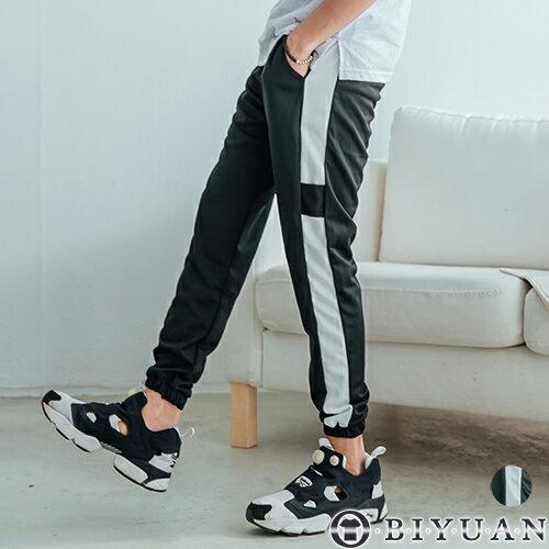 側邊條紋束口休閒褲【FYB1802】OBIYUAN口袋布標JOGGER運動褲共1色