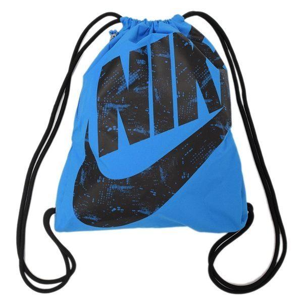 Nike Heritage Gymsack  背包 束口袋 鞋袋 健身 圖騰 大LOGO 藍 【運動世界】BA5351-435