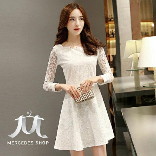 梅西蒂絲Mercedes Shop:《全店75折》早秋質感蕾絲緹花長袖洋裝(S-3XL,3色)-梅西蒂絲(現貨+預購)