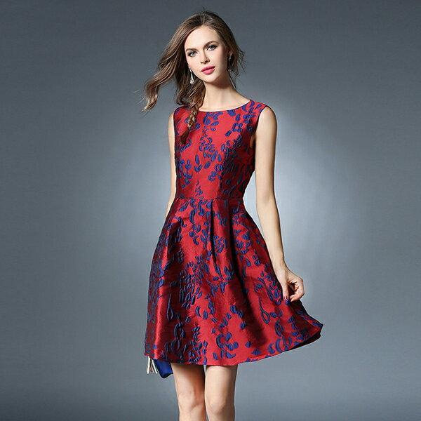 《全店75折》歐美中大尺碼高雅提花連衣裙無袖洋裝禮服(S-2XL) - 梅西蒂絲(現貨+預購) 1