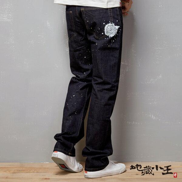 【均一價1580】地藏潑漆印花低腰直筒褲(原生藍)-BLUEWAYJIZO地藏小王