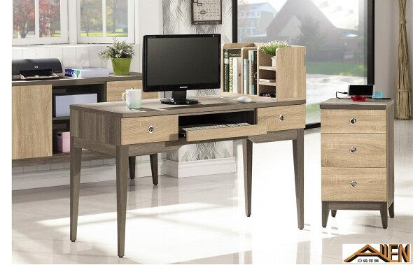 亞倫傢俱*艾思尼浮雕木紋4尺電腦桌組