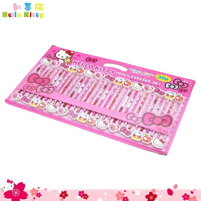 大田倉 韓國進口正版 凱蒂貓 Hello Kitty鉛筆組 30入 橡皮擦 鉛筆 文具組 六角B鉛筆 開學 273134