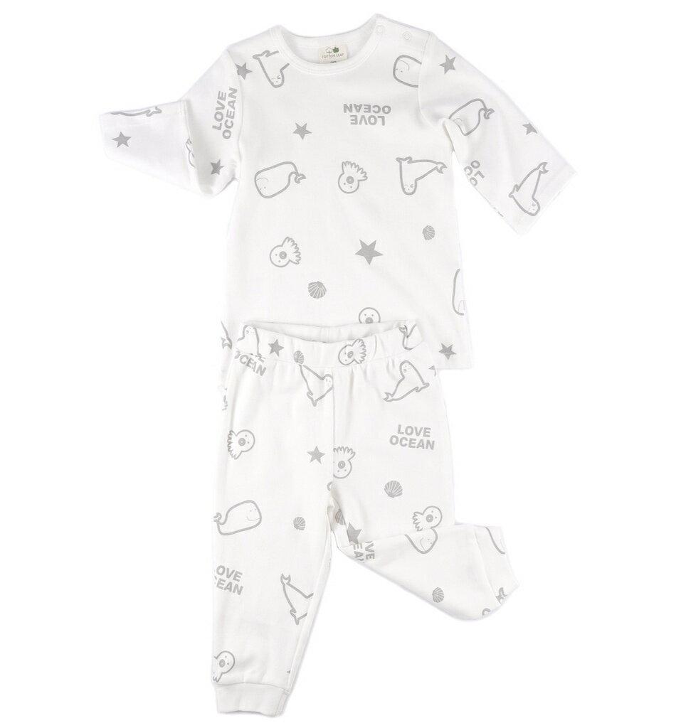 【菲比朵朵】 棉葉寶寶嬰兒有機棉長袖套裝睡衣(愛海圖案)