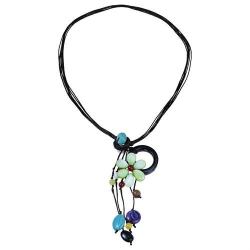 Pretty Drop Cluster Multi-Stone Green Flower Pendant-Necklace 0