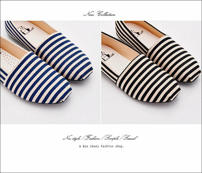 【AWA516】*限時免運* MIT台灣製 海軍風簡單帆布條紋設計 豆豆鞋 圓頭包鞋 娃娃鞋 2色 1