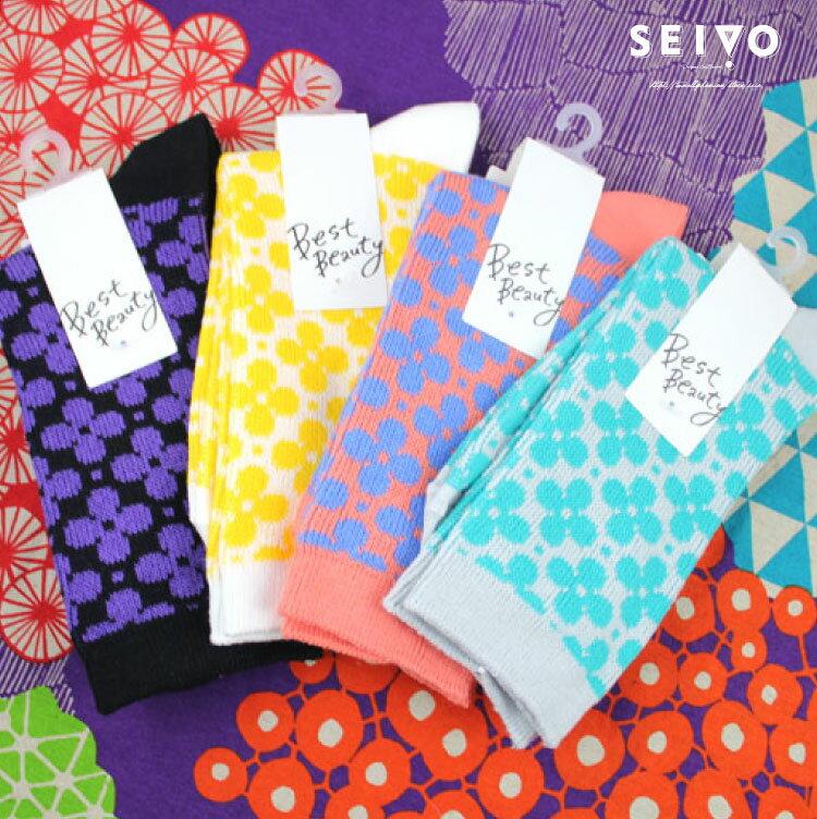 襪子 古著復古 氣質 SEIO  獨特圖型 日系俏皮 簡約狀色花朵 襪子 ^(4色^)