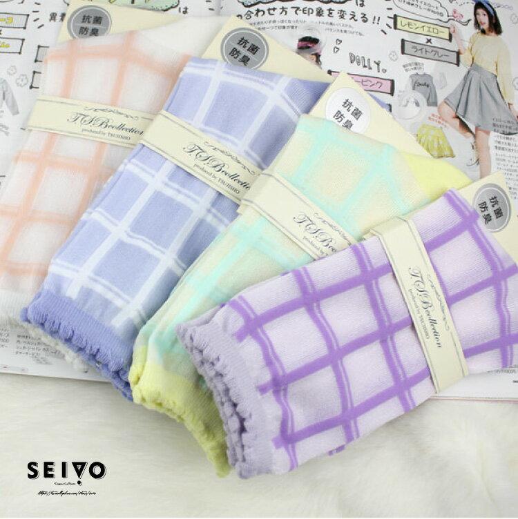 襪子 可愛透膚 日本氣質玻璃襪 SEIO 經典個性玻璃襪 日系可愛 百搭原色線條格紋 襪子 (4色)