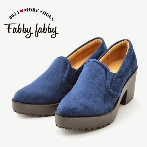 厚底鞋/粗跟 fabby fabby 日本設計師經典鞋款 經典俏麗前高厚高舒適好穿 寶藍色微絨毛 短靴