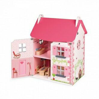 【法國Janod】Doll's House-粉夢幻娃娃屋(買大送小)贈-快樂家庭人偶 J06581 /組