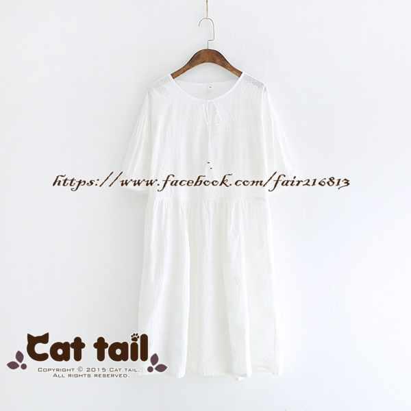 《貓尾巴》LZ-03092 小清新純色流蘇款短袖連身裙(森林系 日系 棉麻 文青 清新)