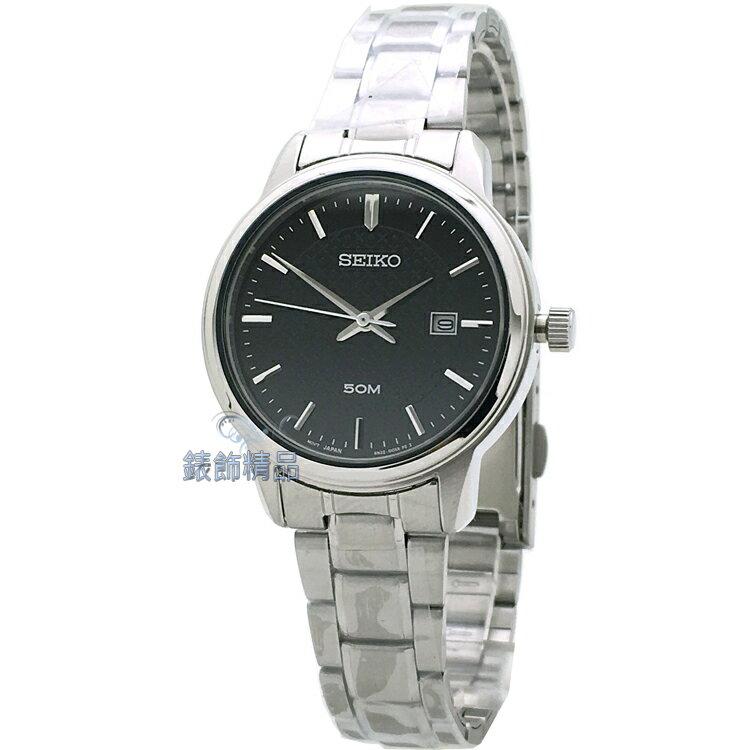 【錶飾精品】SEIKO錶 精工表 時尚淑女錶 細緻立體雕紋黑面日期鋼帶 全新原廠正品 SUR747P1 生日情人禮物