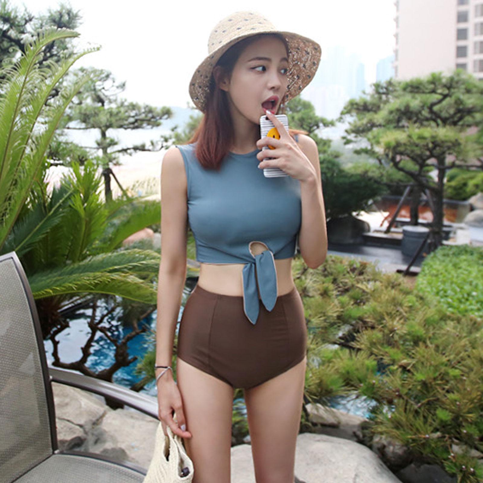 泳衣 韓國復古高腰綁帶兩件式泳裝【O3393】☆雙兒網☆ 3