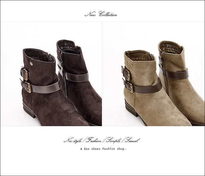 格子舖*【KBPL-8088】日系雜誌流行百搭絨布 拉鍊方便穿拖 3.2CM粗低跟 短靴 素面絨布靴 機車靴 2色 3
