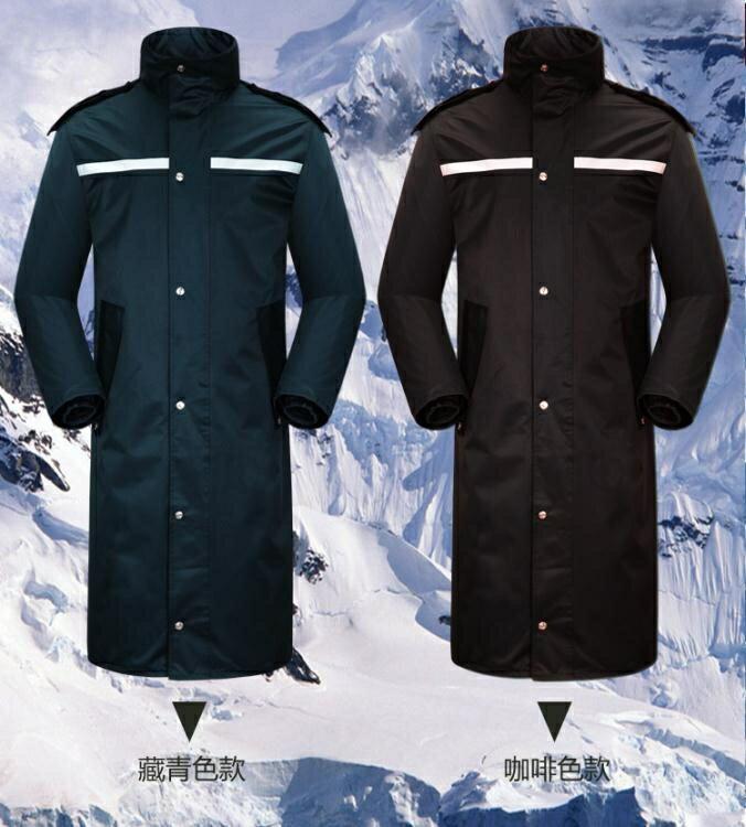 連身雨衣戶外連身長版雨衣雙層男女成人風衣式保安巡邏站崗長衫雨衣加厚