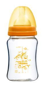 蜜妮寶貝嬰童用品館:【蜜妮寶貝嬰童用品館】防脹氣葫蘆寬口玻璃奶瓶(容量:180ml6oz顏色:橘色)型號:BB-14101G