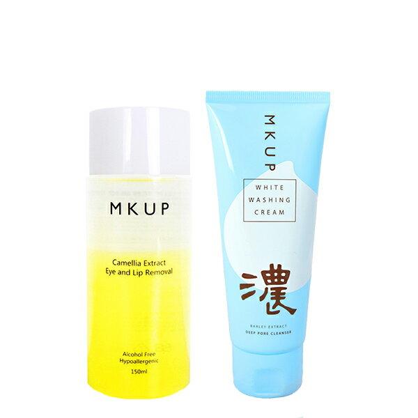 卸妝洗顏雙效1+1組★MKUP 美咖  山茶花修護眼唇卸妝液+深層淨白泡泡洗面乳 0