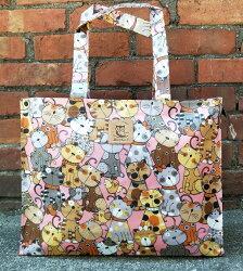 【賠錢出清】 Dolly Club朵莉俱樂部(台灣製造防水包)肩背袋 橫式補習袋 公文袋 樂譜袋 貓咪圖案