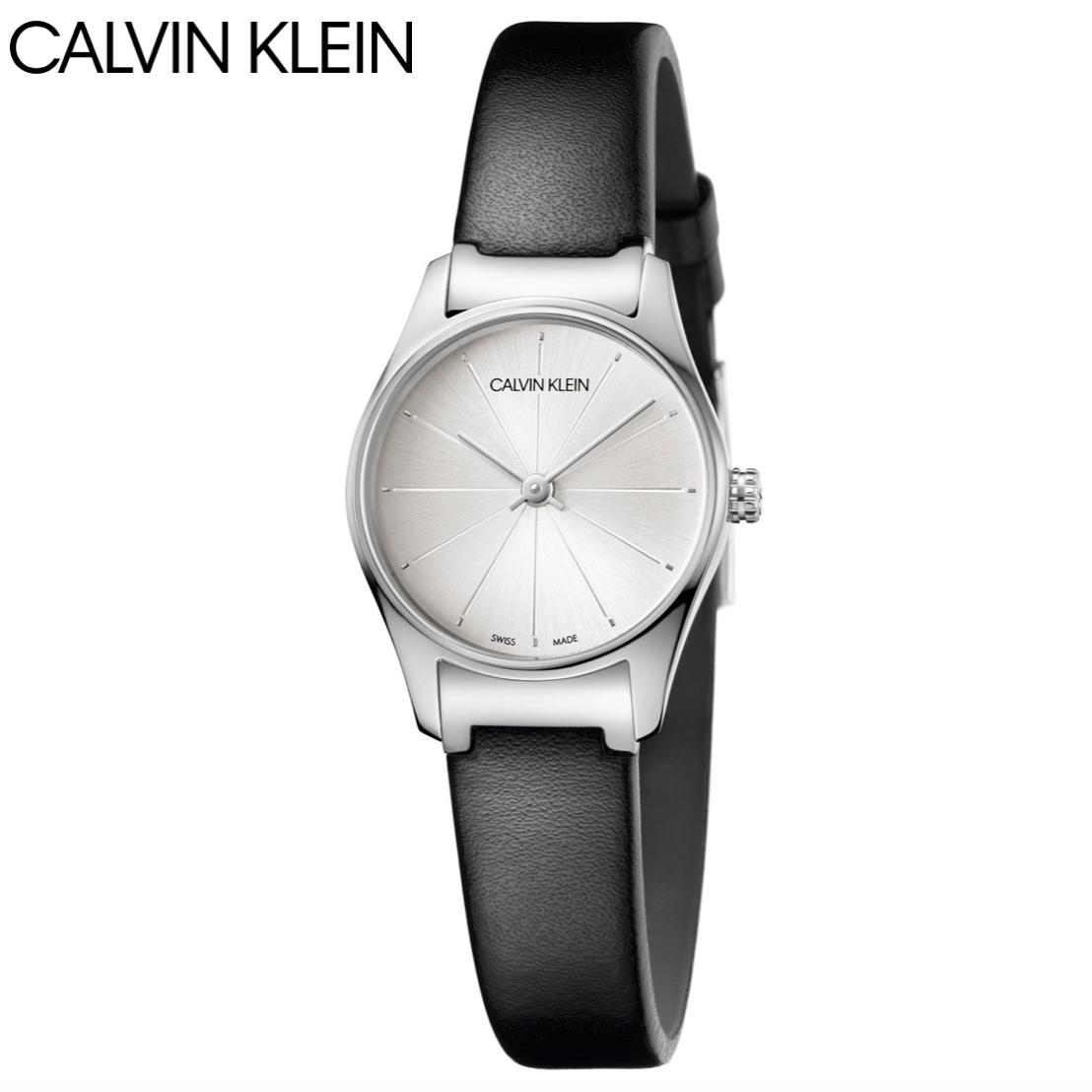 大台中時計 CALVIN KLEIN clssic too系列 極簡風格皮革腕錶 K4D231C6 -白/24mm