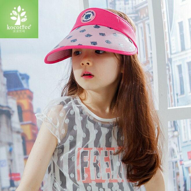 Kocotree◆時尚可愛卡通蝙蝠俠兒童親子款防曬透氣空頂遮陽帽-玫紅