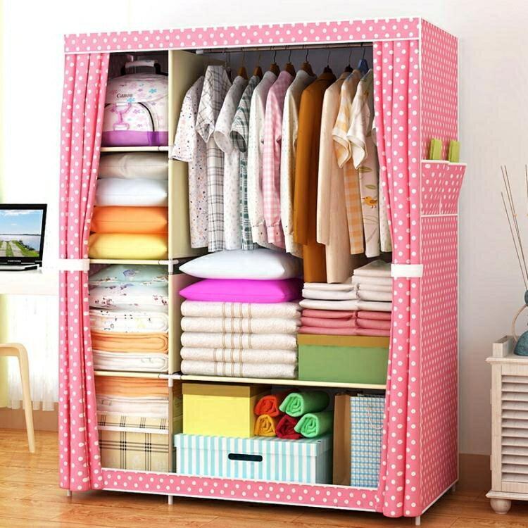 簡易衣櫃子布藝鋼架單雙人布衣櫃收納簡約現代經濟型臥室組裝衣櫥MBS 清涼一夏特價