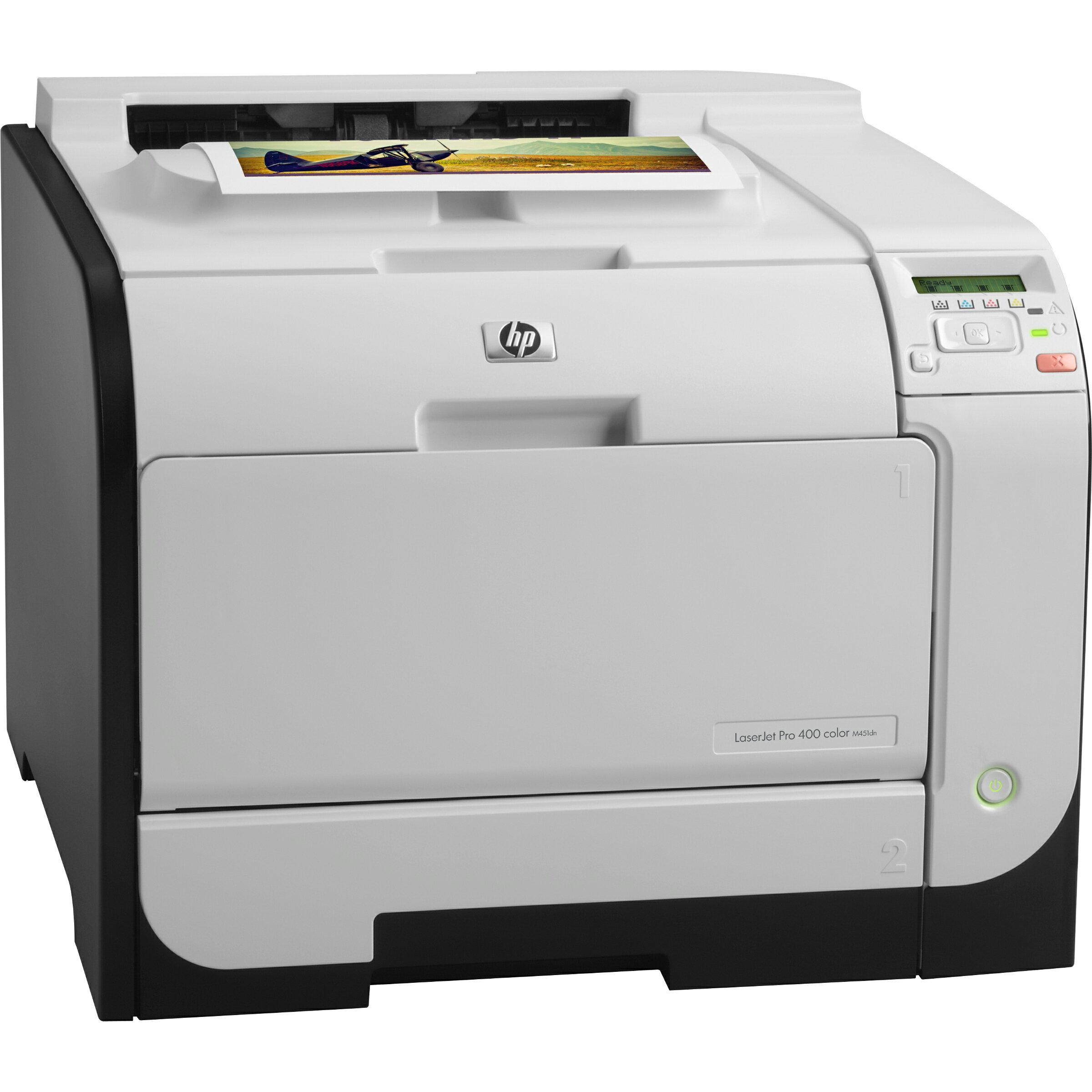 HP LaserJet Pro 400 M451DN Laser Printer - Refurbished - Color - 600 x 600 dpi Print - Plain Paper Print - Desktop - 21 ppm Mono / 21 ppm Color Print - 300 sheets Standard Input Capacity - 40000 pages per month - Automatic Duplex Print - LCD - Ethernet - 0