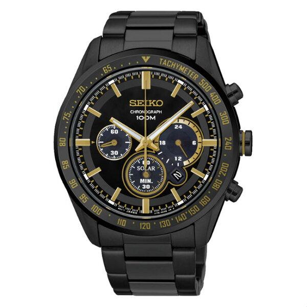 SeikocriteriaV175-0DL0K(SSC473P1)極致競速太陽能計時腕錶黑面42mm