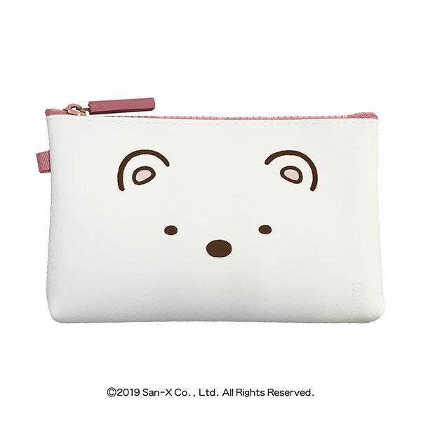 SAN-X 角落小夥伴 矽膠方形扁平拉鍊化妝包 筆袋 恐龍 白熊 貓咪 角落生物 日本進口正版授權 JUST GIRL