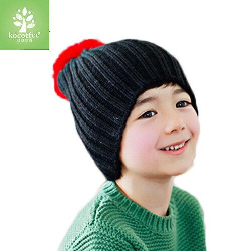 WallFree窩自在~ 簡約氣質純色糖果色立體大毛球兒童保暖毛線帽~黑色