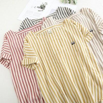 短袖T恤條紋上衣-清新可愛小眼睛刺繡女打底衫4色73sy5【獨家進口】【米蘭精品】