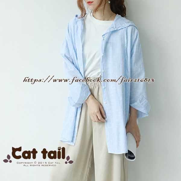 《貓尾巴》LZ-03181 休閒學院風條紋連帽棉外套(森林系 日系 棉麻 文青 清新)