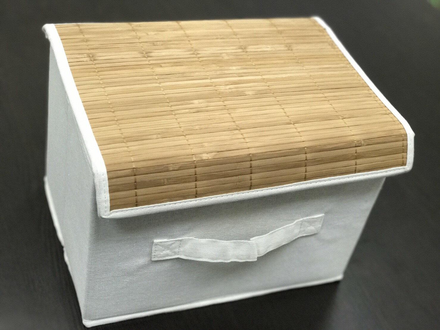 【凱樂絲】竹編+棉質收納籃,附上蓋可防塵。有把手方便拿取。襪子、手帕、圍巾、手套等收納29X21X20CM