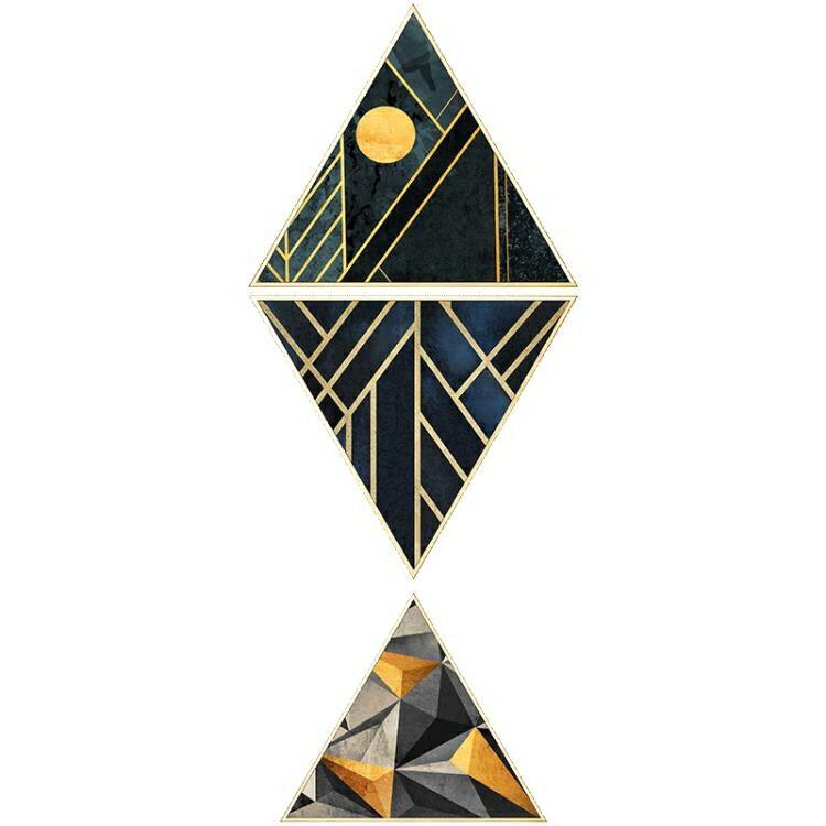 618限時搶購 壁畫 玄關裝飾畫 走廊過道壁畫豎版 現代客廳抽象輕奢創意魚三角形掛畫 8號時光