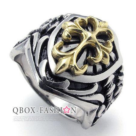 《QBOX》FASHION飾品【W10021893】精緻個性華麗宮廷盾面316L鈦鋼戒指戒環