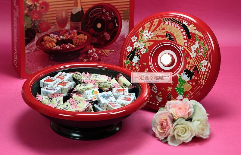 一定要幸福哦~~日式和風旋轉糖果盒、 男方.女方結婚用品、糖果盤