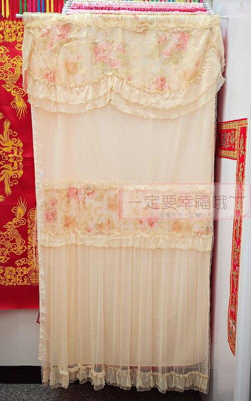 一定要幸福哦~~戀愛玫瑰蕾絲雙層門簾 (金黃)、結婚用品、門簾