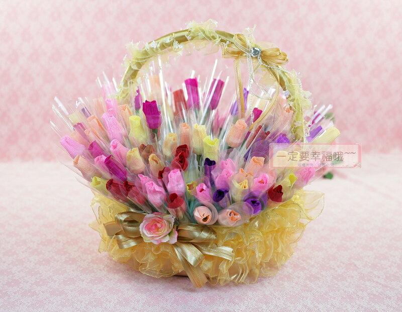一定要幸福哦^~^~幸福花朵棒棒糖26公分^(10支130元^)二次進場 台南婚禮小物