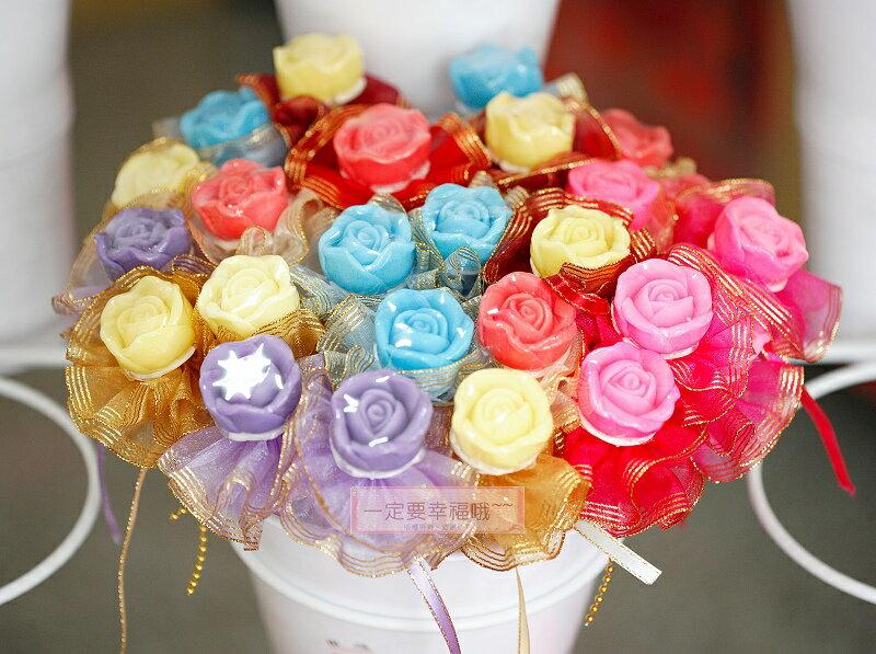 一定要幸福哦~~玫瑰花香皂金莎花棒(10支270元)~婚禮小物、結婚宴客、二次進場